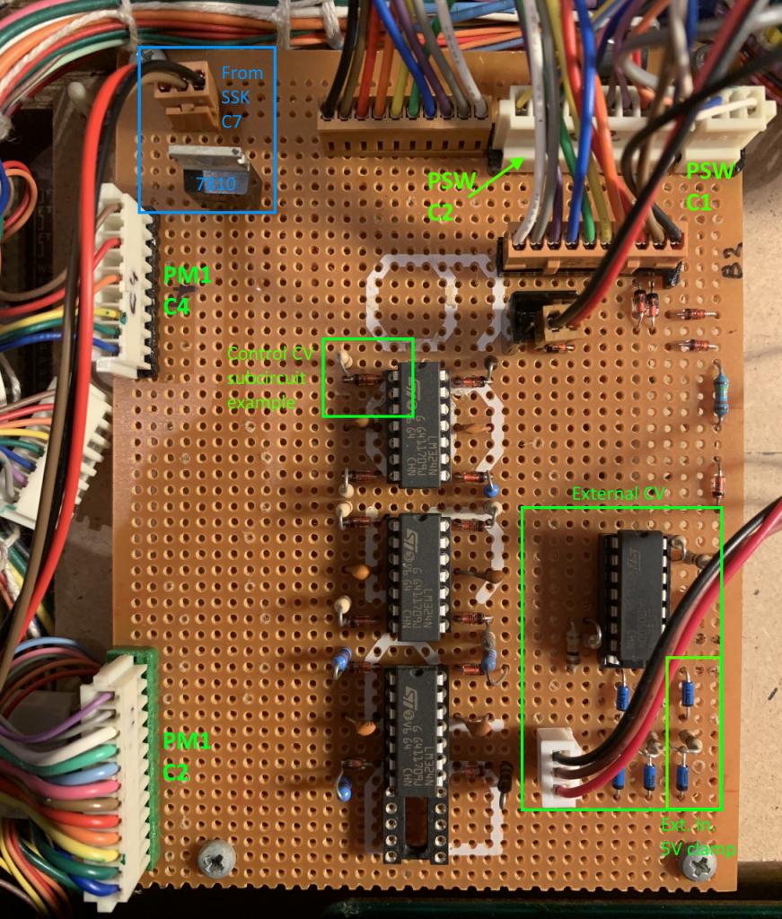 Yamaha CS15D DXmod mainboard annotated